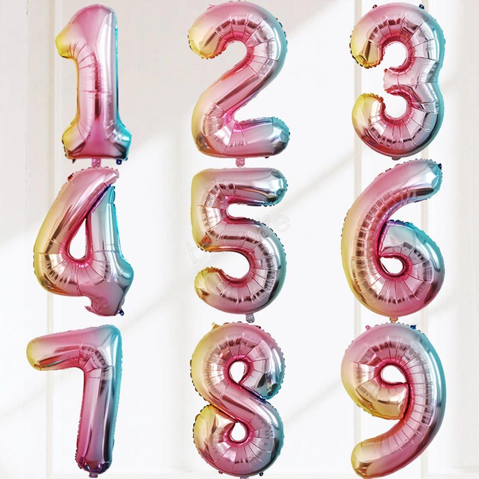 Palloncino da 32 pollici Buon compleanno Diserbo Celebrazione Decorazione Palloncino di rivestimento graduale in alluminio circolare Numero 0-9 LJJA2916