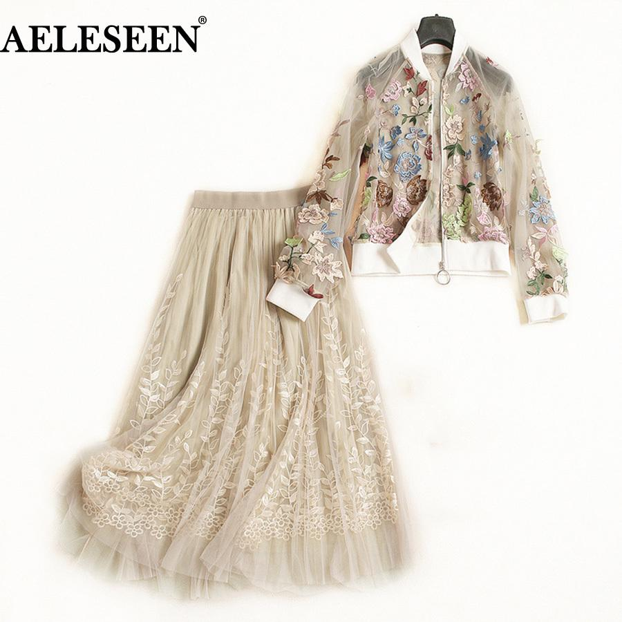 AELESEEN Top Qualité piste 2 pièces Costume Femme Automne Floral broderie longue lanterne manches Perspect Mesh Top + Jupe luxe Set Y200110