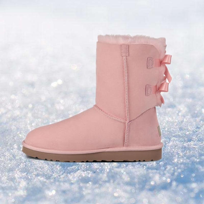 2020 Classic Australia Botas de invierno de las mujeres del diseñador Castaño Negro Azul Rosa Café Zapatos rodilla nieve de la piel de las mujeres de arranque de tobillo