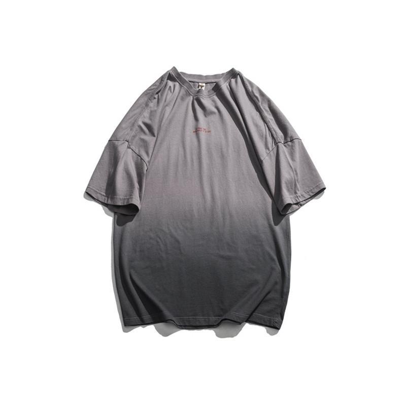 Erkek Tasarımcı Kazak Tişörtleri Ekip Boyun Tops Kısa Kollu Erkek Yaz Degrade Renk Mektup Baskı Giyim