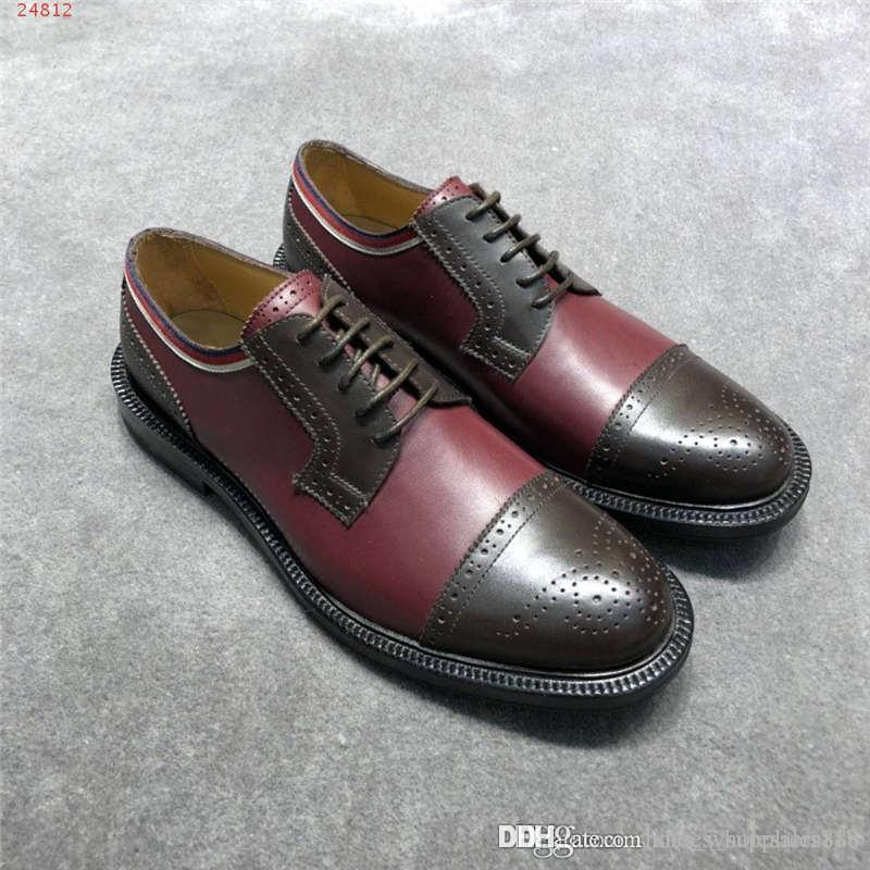 Últimos hombres costosos discretos Zapatos de costura de empalme multicolor Suela de cuero de cuero de vaca importada Hombres Zapatos de etiqueta de negocios