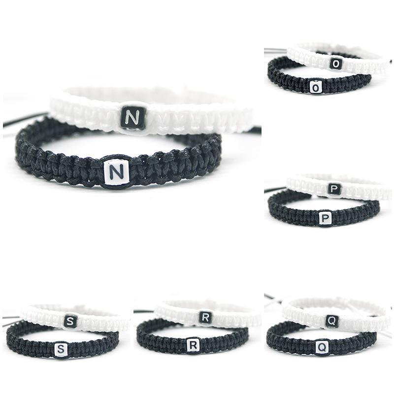 N To Z Mektupları Bilezikler Halat Zincir 2pcs / çifti Narin Siyah ve Beyaz Kordon Aşıklar Arkadaş Boncuklu Takı için Boyutu ayarlayın