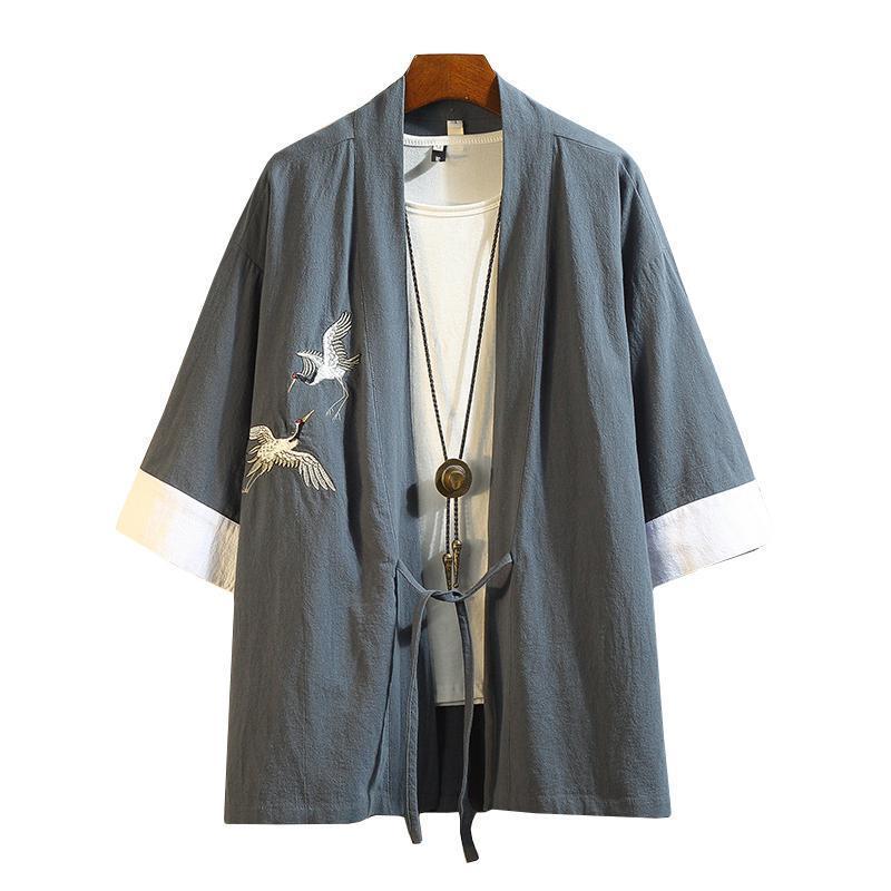 M-5XL japonais Streetwear Kimono Shirt Hommes dragon chinois Embroiderd manches 3/4 col Chemises Bureau Coton Porter circuitent
