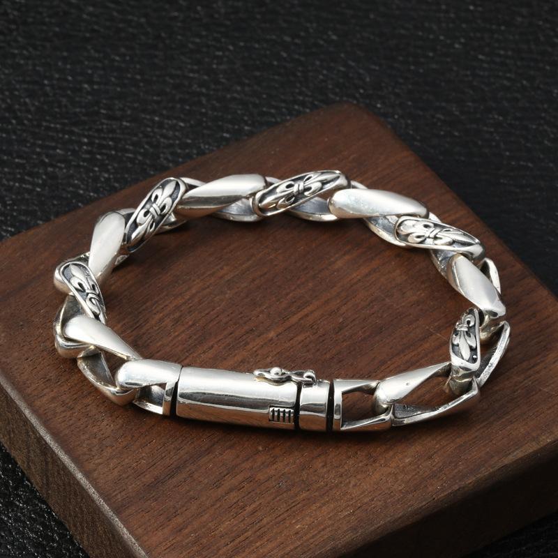 Personalisierte echt sterling Silber vintage Schmuck Marke Antike Silber Hand-made designer floral Kreuz Charme links twisted punk Armbänder