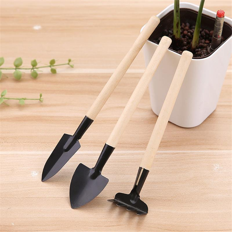 Mini Metal Small Gardening Tools Flowers Planting Shovel Rake Wood Handle Metal Head Garden Tools cyq009