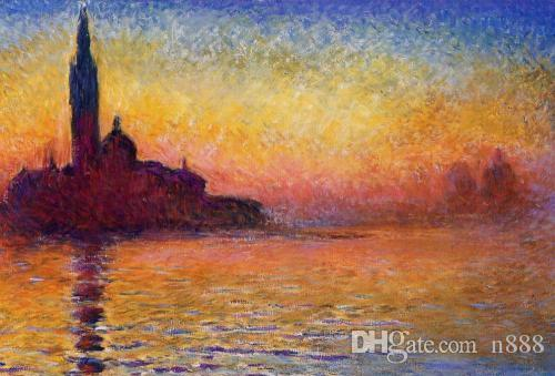 Sunset in Venice by Claude Monet Oil Painting On Canvas Wall Art Canvas Large Picture For Living Room