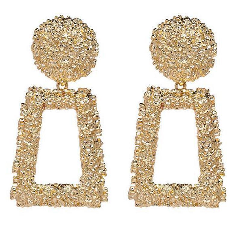 Fashion Punk Gold Metal Dangle Earrings Jewelry Geometric Drop Earrings UK STOCK