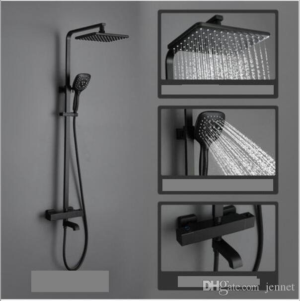 Conjunto de chuveiro com trilho deslizante Preto fosco com jato de mão, chuveiro de mão, bocais de borracha ajustável em altura chuveiro grande chuveiro grande