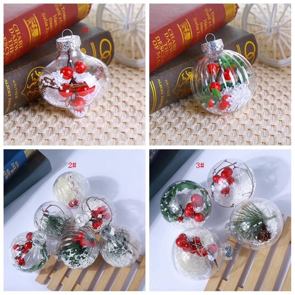 3styles شفافة عيد الميلاد الكرة البلاستيكية عيد الميلاد جولة كرات شجرة الحلي الشنق ديكور المنزل حفلة عيد الميلاد DecorationsT2I5475