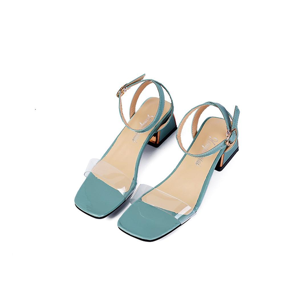 CHAMSGEND Mode Damen transparent dick mit offenen Zehen Wort Gürtel Sandalen wilden Absatzschuhe der beiläufigen wilden Outdoor-Sandalen