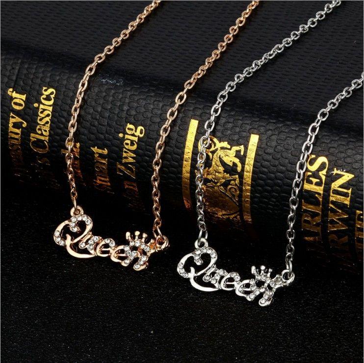 Colar de luxo requintado ouro-cor rainha coroa correntes colares mulheres moda jóias presente de aniversário colar de cristal de zircão