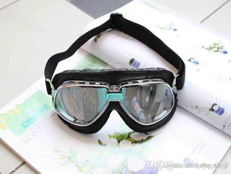 Motocross goggles / dustproof windshield / outdoor goggles / riding glasses black leather silver frame004