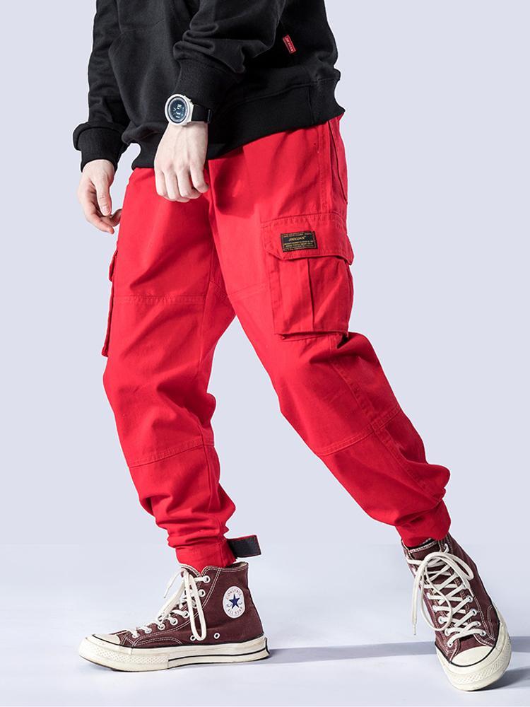 Moda Streetwear Hombres Pantalones Vaqueros Pantalones Harem Estilo Grande de Bolsillo Pantalones de Carga hombre Red Loose Fit Hip Hop Joggers Pantalones hombres