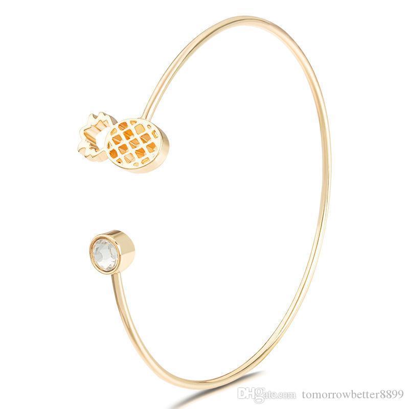 muito requintado CZ Zircon Bracelet Bangle por Mulheres Crystal abacaxi Charm Bracelet Jóias Cuff Bangle Pulseiras Bangles