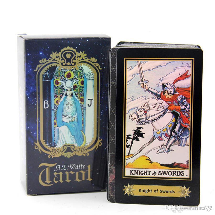 Holografik Tarot Kurulu oyunu Parlatıcı Waite Tarot Kartları oyunu Çince / İngilizce Edition Tarot Kurulu oyunu DHL