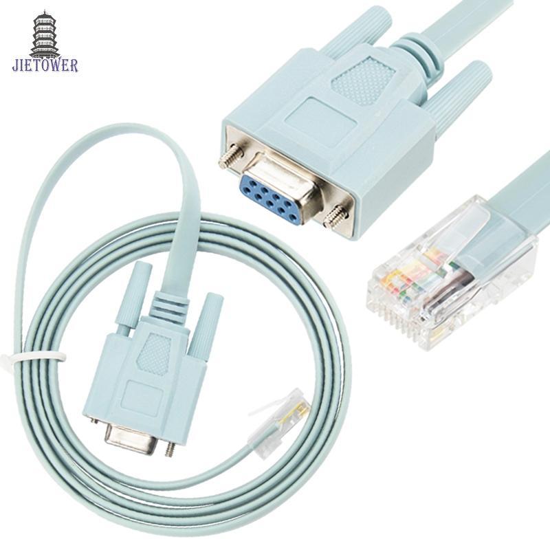 9 دبوس DB9 COM المسلسل RS232 إلى RJ45 Cat5 إيثرنت LAN وحدة تبديل خط كابل لأجهزة التوجيه