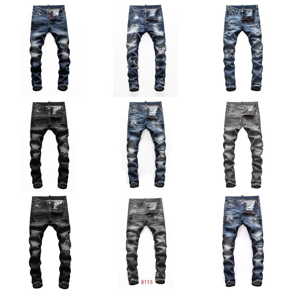 dsquared2 DSQ d2 hommes jeans denim concepteur pantalon noir déchiré mieux maigre version H1 cassé Italie revival rock moto de vélo de marque