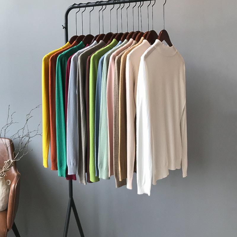 color sólido de manga larga jersey 2019 otoño y el invierno auto-cultivo versátil media-alta de cuello basa a mujeres de la camisa