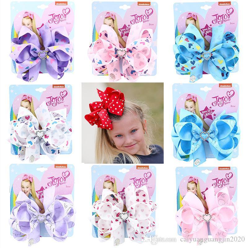 Bebek Çocuk Büyük Pullu Bow Unicorn Kalp Yaylar saç aksesuarları Yeni Big Bow Saç Klip 8 İnç Jojo Siwa Saç Yaylar Jojo Yaylar Klip