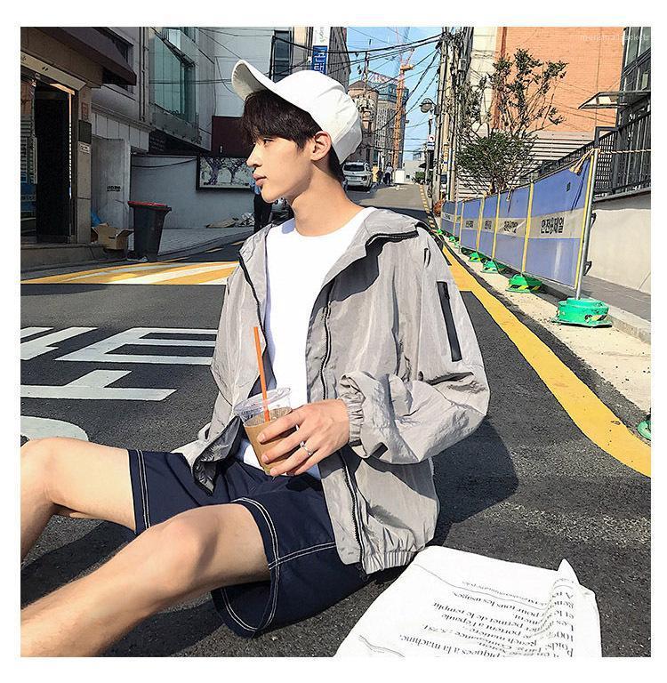 Moda Fermuar Cep Giyim Erkek Uzun Kollu Ceket Casual Katı Renk Kapşonlu Coat Erkek Tasarımcı erkek ceketi