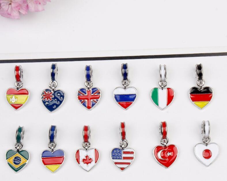 Party Geschenk Lady Halskette Armband Anhänger Mode Frauen Legierung Öl Tropte 3D Welche Nationalflagge Gedruckt Anhänger Urlaub WY265 ZWL