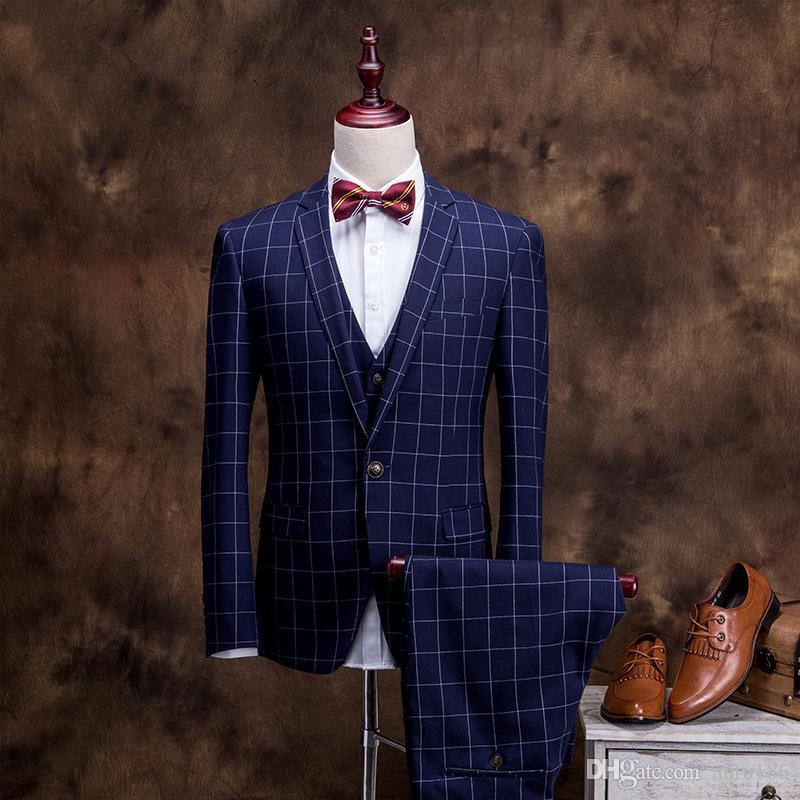Erkek takım elbise üç parçalı takım elbise (ceket + pantolon + yelek) ilkbahar ve sonbahar yeni erkek ekose iş resmi takım elbise düğün damat Groomsmen elbise