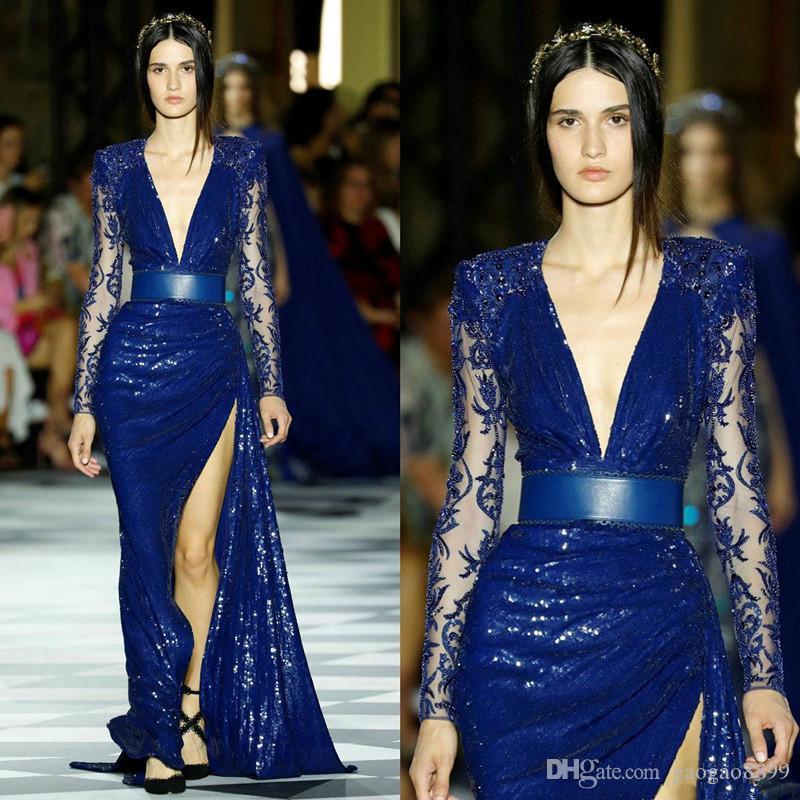2019 Zuhair Murad azul lantejoulas sereia vestidos de baile ilusão manga longa coxa fendas altas rendas vestido de cocktail à noite robes de soirée