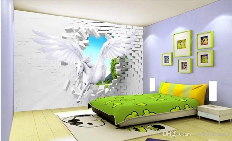 fond d'écran pour les murs 3 d pour cheval vivant chambre fonds d'écran mur d'arrière-plan stéréo 3D