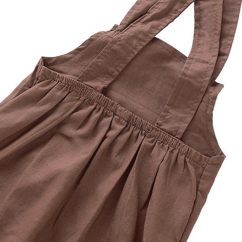 Nueva muchachas de los bebés del otoño niños de los pantalones del color sólido de algodón sin mangas elásticas Tirantes Pantalones Monos Pantalones 3-18M nueva