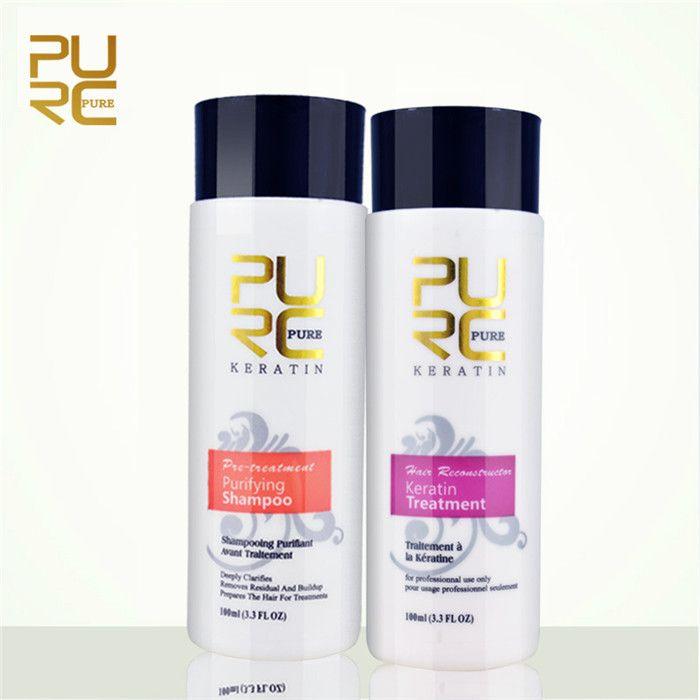 Ремонт по выпрямлению для волос PURC и выпрямительный урон Изделия для волос Бразильский 5% Кератиновая обработка + очистка шампуня 2 шт. / Набор