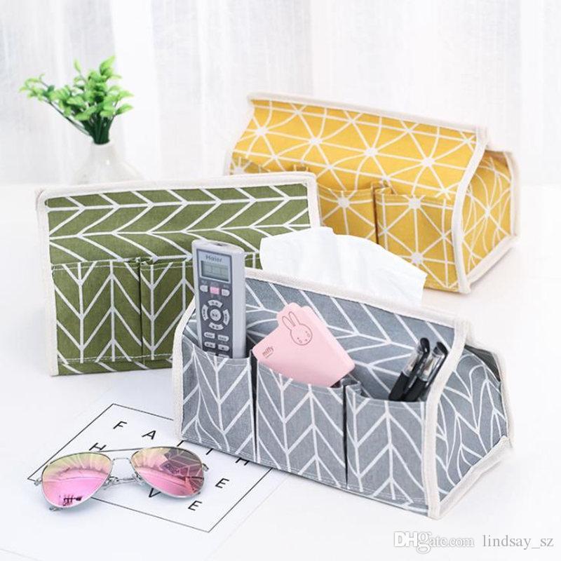 6 Taschen Baumwolle Tissue Box Multifunktionale Desktop Pump Serviette Papierhalter Wasserdichte Papier Handtuch Fall Aufbewahrungstasche
