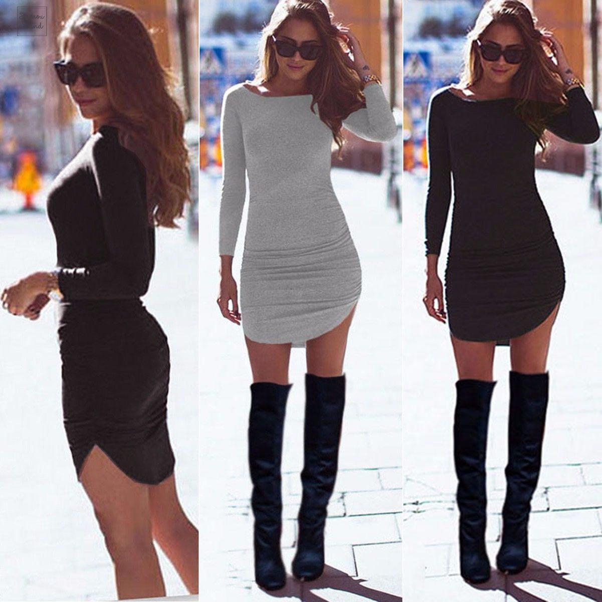 المرأة مثير السيدات حزب اللباس كم طويل عادية تونك الأعلى قصيرة الهيئة غير الرسمية البسيطة الخريف قطرة الشحن مصمم الملابس