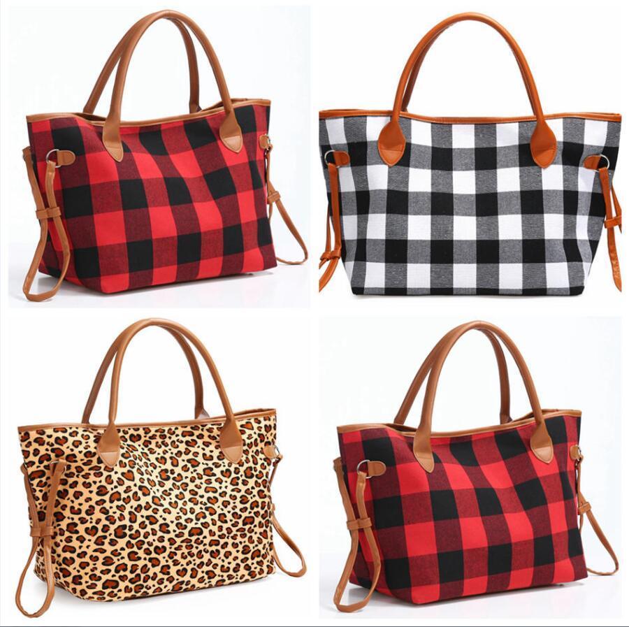 plaid Leopard Duffel Bag Big imprimé animal Tote Voyage Buffalo sac à main double PU poignées Sarah grande capacité Weekenders Sac LJJA3504-2