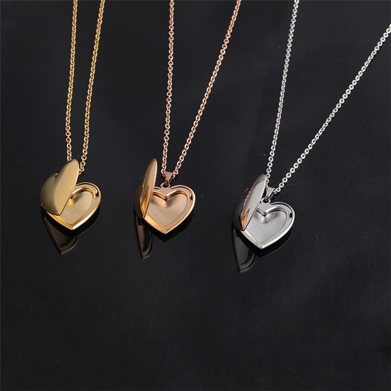 Paslanmaz Çelik Gümüş / Altın Rengi Hollow Yuvarlak Şeklinde Kolye Kolye Kadınlar Kalp Takı Aksesuar Sevimli Fotoğraf Kutusu