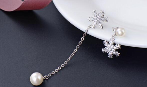 S925 plata esterlina oído de la perla del perno prisionero de la moda femenina con diamantes de circón pendientes colgantes largos adornos headpiece