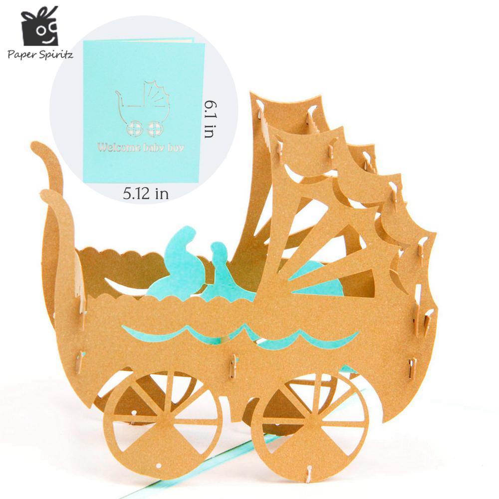 kartları tebrik Pembe mavi bebek arabası Kirigami origami kağıt sanat ve zanaat 3d lazer kesim doğum günü kartpostal 7012P / T