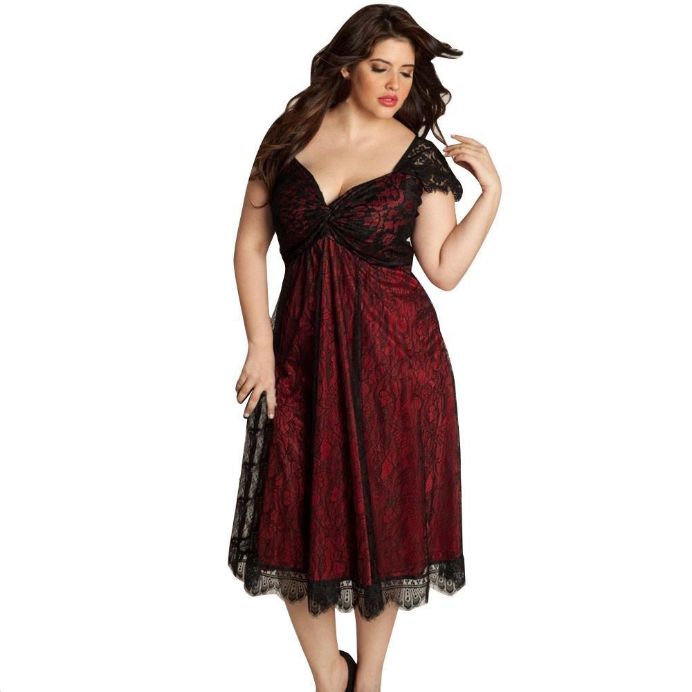 Großhandel Super Große Größe L Bis L15 Kleid Frauen Mit V Ausschnitt Kurzarm  Spitze Langen Abend Partei Abschlussball Kleid Formale Kleid Plus Größe