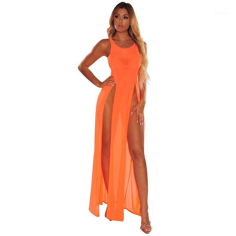 Mujeres traje de baño moda diseñador playa señoras cubierta Ups Sexy paneles ropa femenina con Split verano Color puro