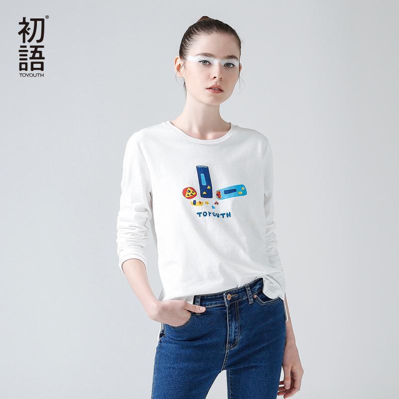 Toyouth 2019 Nuovo arrivo T Shirt da donna O-Collo manica lunga in cotone Slim Tees Tee carattere femminile Casual Top S19715