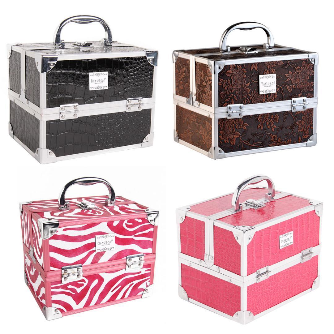 Behogar Aleación de aluminio portátil Cuero de la PU Maquillaje cosmético Vanidad Caja de almacenamiento Organizador de la caja con 5 bandejas extraíbles