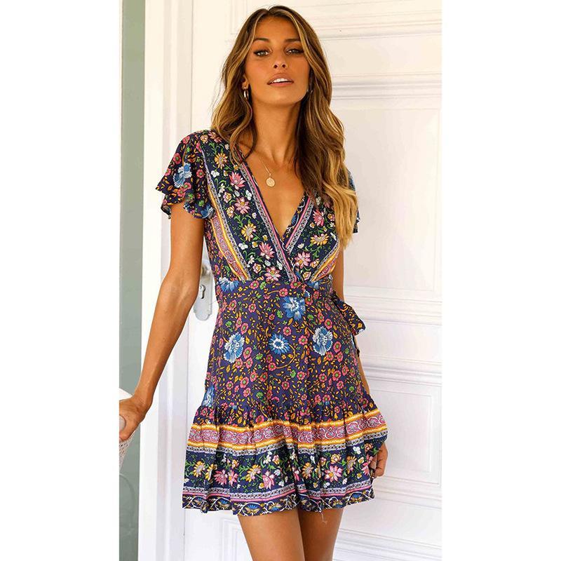 New Summer Dresses For Womens Short Sleeve Bohemian Beach Pleated Dress V-neck Pendulum Flower Casual Dress women Clothing S-XL wholesale