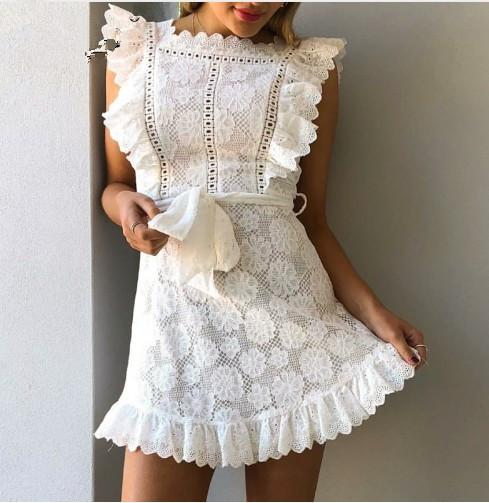 Cross-border explosion models explosion models soluble embroidery lace miniskirt sweet fungus dress