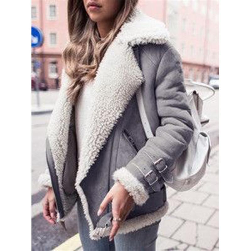 2018 Fashion Women Bomber Jackets Faux Suede Fur Coats Warm Fleece Lamb Wool Coats Winter Ladies Lapel Motorcycle Jackets Zipper Overcoat