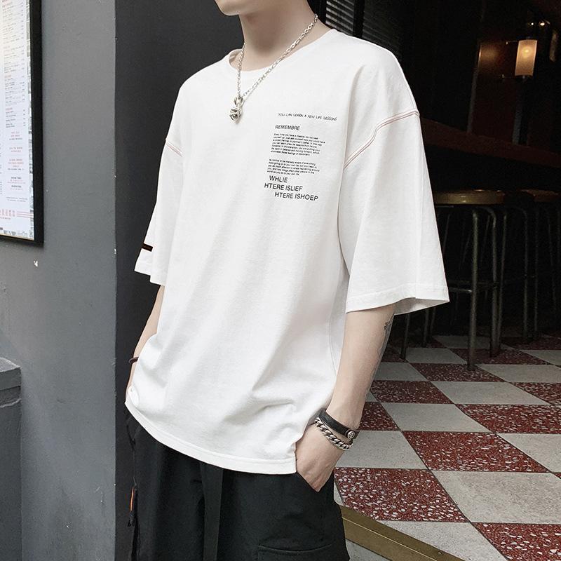 Aamon2019 yaz yeni erkek Tişört Hong Kong eğilim pamuk kısa kollu erkek moda gevşek üst