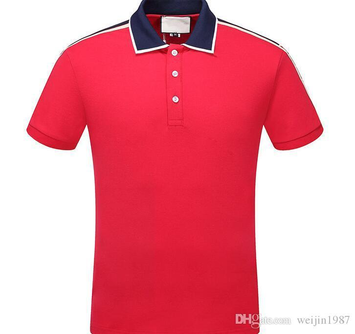 2020 Лето С Коротким Рукавом Роскошные Дизайнерские Рубашки Поло Мужчины Повседневная Поло Мода Полоса Печати Вышивка Футболка High Street Мужские Хлопчатобумажные Поло