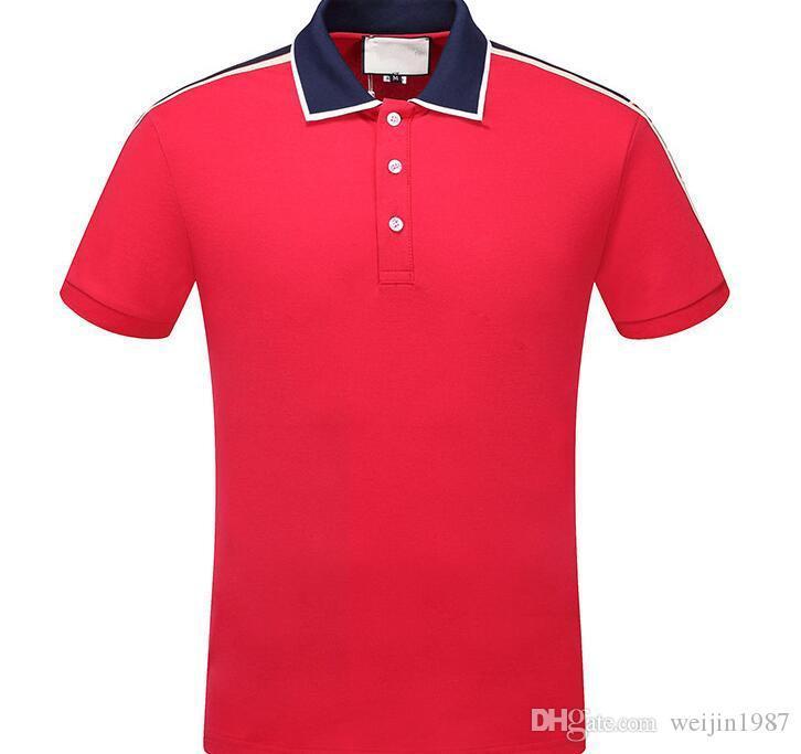 2020 Summer Short Sleeve Luxury Designer Polo Shirts Men Casual Polo Fashion Strip Print Embroidery T Shirt High Street Mens Cotton Polos