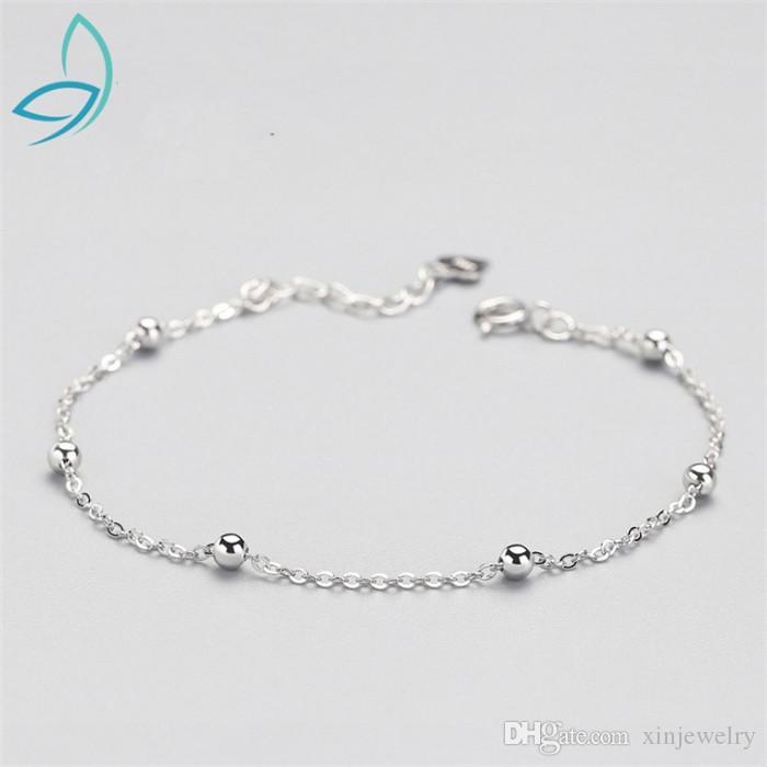 New S925 sterling silver bracelet Luxury girl simple bead bracelet jewelry No Fading No Allergies Link Bracelets Fashion Jewelry