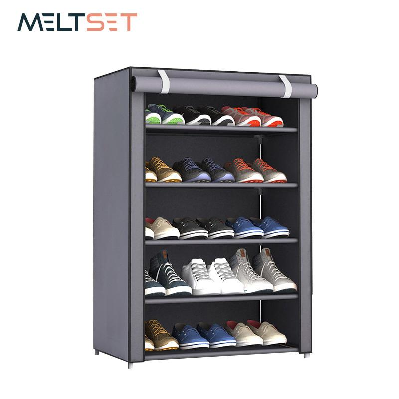 3/4/5/6 Layer Stainless Steel Shoes Shelf Easy Assembled Shoe Rack Cabinet Shoes Organizer Stand Holder Keep Home Neat Shoe Box Q190429