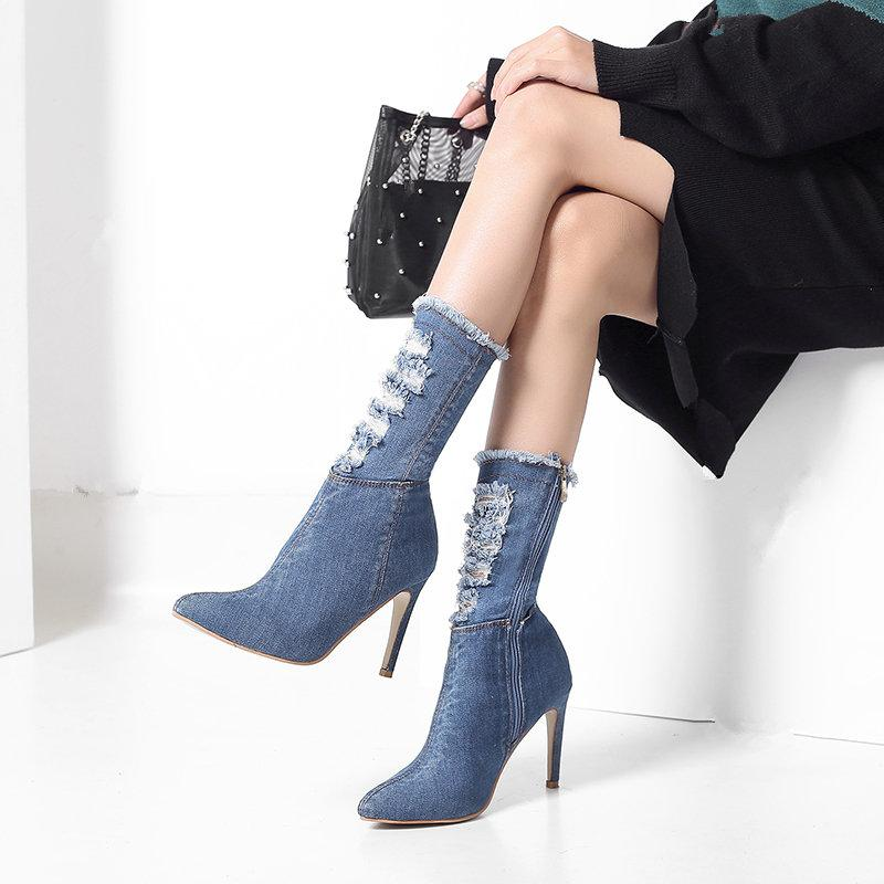Europeus e americanos de moda feminina tendência stiletto cowboy botas selvagem pontudo confortável botas de salto alto das mulheres.