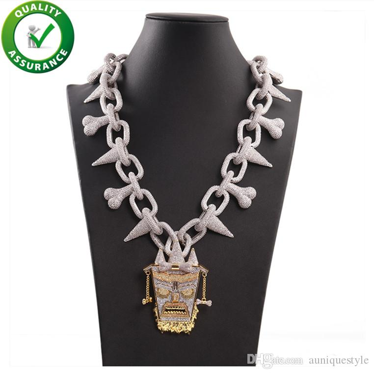 Iced Out Pendant Luxury Designer Jewelry Mens Necklace Silver Chain Bling Diamond King Pendants Hip Hop Rapper Cuban Link Accessories Gift